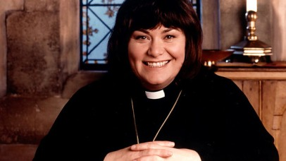 Dawn French plays the Vicar of Dibley in the BBC's comedy of the same name.