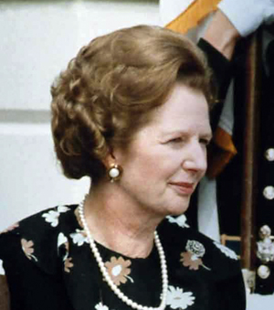 Margaret Thatcher, in her pearls. Photo credit below post.
